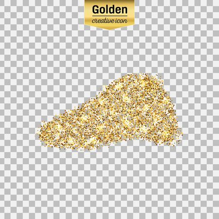 bile: Gold glitter vector icon of liver isolated on background. Art creative concept illustration for web, glow light confetti, bright sequins, sparkle tinsel, abstract bling, shimmer dust, foil. Illustration