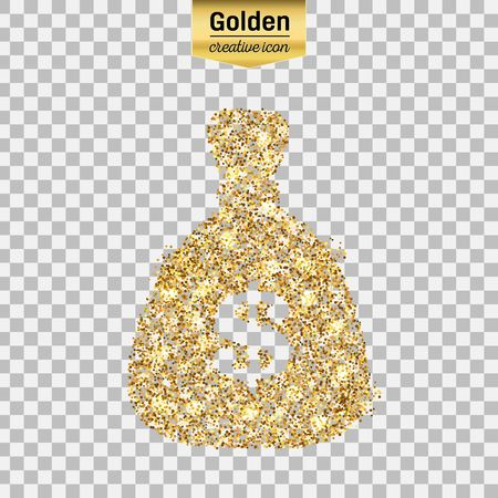 Gold glitter vector icon of money bag isolated on background. Art creative concept illustration for web, glow light confetti, bright sequins, sparkle tinsel, abstract bling, shimmer dust, foil. Illustration