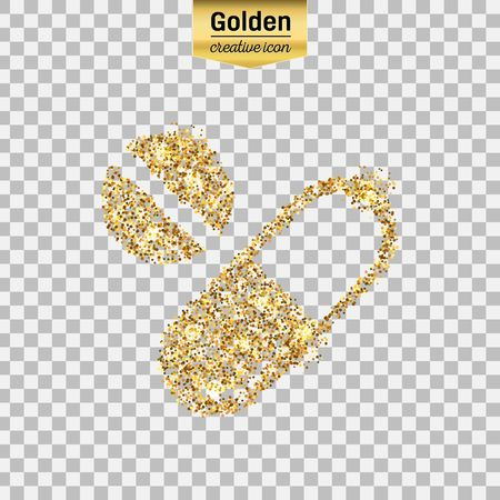 Gold glitter vector icon of pills isolated on background. Art creative concept illustration for web, glow light confetti, bright sequins, sparkle tinsel, abstract bling, shimmer dust, foil.