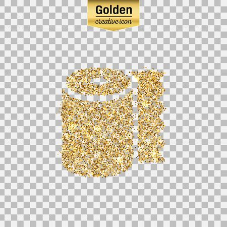 sequins: Gold glitter vector icon of tissue toilet isolated on background. Art creative concept illustration for web, glow light confetti, bright sequins, sparkle tinsel, abstract bling, shimmer dust, foil. Illustration