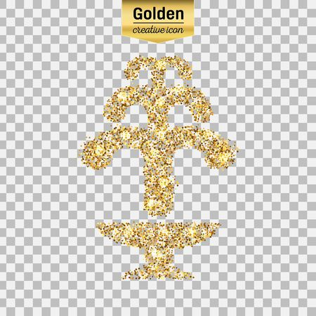 Gold glitter vector icon of fountain isolated on background. Art creative concept illustration for web, glow light confetti, bright sequins, sparkle tinsel, abstract bling, shimmer dust, foil.