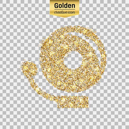 Gold glitter vector icon of school bell isolated on background. Art creative concept illustration for web, glow light confetti, bright sequins, sparkle tinsel, abstract bling, shimmer dust, foil.