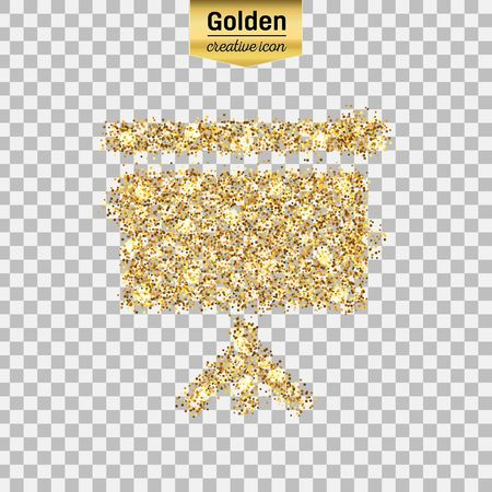 sequins: Gold glitter vector icon of a poster isolated on background. Art creative concept illustration for web, glow light confetti, bright sequins, sparkle tinsel, abstract bling, shimmer dust, foil.