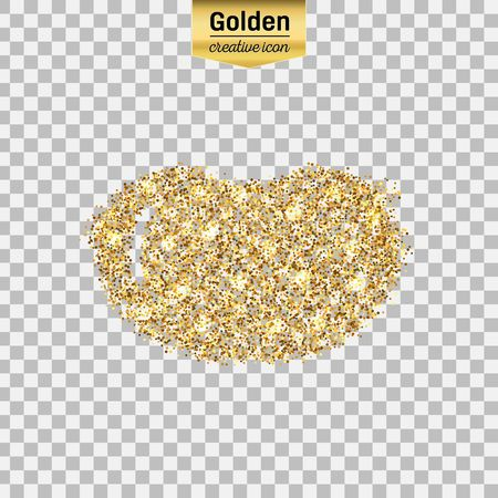 Gold glitter vector icon of bean rocket isolated on background. Art creative concept illustration for web, glow light confetti, bright sequins, sparkle tinsel, abstract bling, shimmer dust, foil.