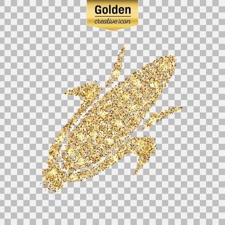 Gold glitter vector icon of corn on the cob isolated on background. Art creative concept illustration for web, glow light confetti, bright sequins, sparkle tinsel, abstract bling, shimmer dust, foil. Illustration