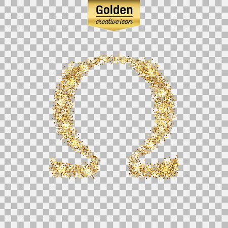 Gold glitter vector icon of omega isolated on background. Art creative concept illustration for web, glow light confetti, bright sequins, sparkle tinsel, abstract bling, shimmer dust, foil.