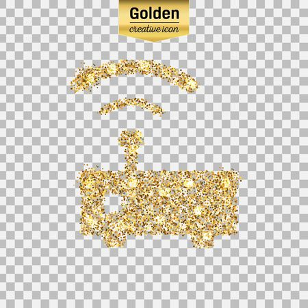 Gold glitter vector icon of wifi router isolated on background. Art creative concept illustration for web, glow light confetti, bright sequins, sparkle tinsel, abstract bling, shimmer dust, foil.