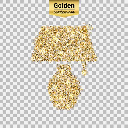illuminator: Gold glitter vector icon of lamp isolated on background. Art creative concept illustration for web, glow light confetti, bright sequins, sparkle tinsel, abstract bling, shimmer dust, foil.