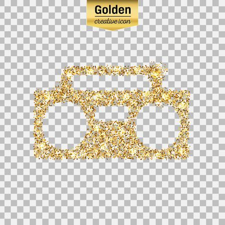 world receiver: Gold glitter vector icon of boombox isolated on background. Art creative concept illustration for web, glow light confetti, bright sequins, sparkle tinsel, abstract bling, shimmer dust, foil.