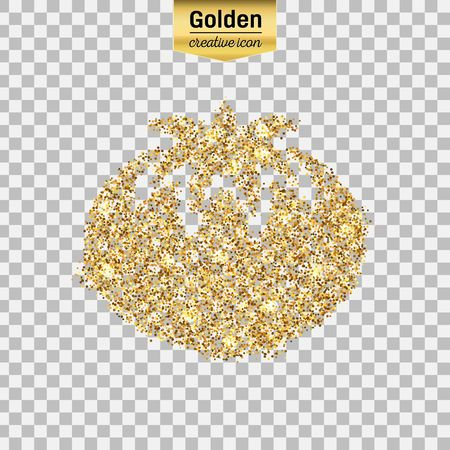 sequins: Gold glitter vector icon of tomato isolated on background. Art creative concept illustration for web, glow light confetti, bright sequins, sparkle tinsel, abstract bling, shimmer dust, foil.