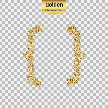 Gold glitter vector icon of curly bracket isolated on background. Art creative concept illustration for web, glow light confetti, bright sequins, sparkle tinsel, abstract bling, shimmer dust, foil. Illustration