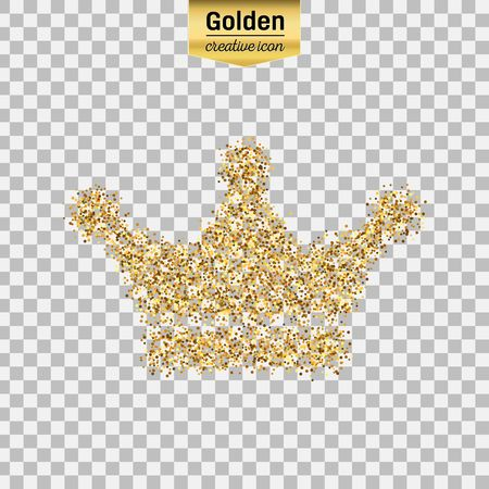 crown of light: Gold glitter vector icon of crown isolated on background. Art creative concept illustration for web, glow light confetti, bright sequins, sparkle tinsel, abstract bling, shimmer dust, foil.