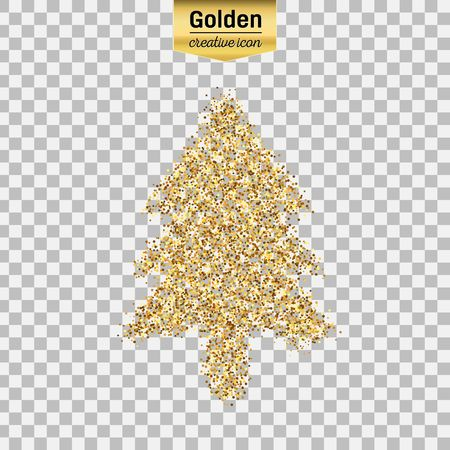 Gold glitter vector icon of Christmas tree isolated on background. Art creative concept illustration for web, glow light confetti, bright sequins, sparkle tinsel, abstract bling, shimmer dust, foil. Illustration