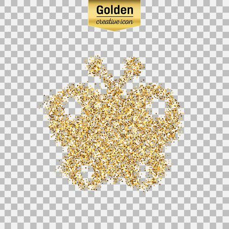 Gold glitter vector icon of butterfly isolated on background. Art creative concept illustration for web, glow light confetti, bright sequins, sparkle tinsel, abstract bling, shimmer dust, foil.