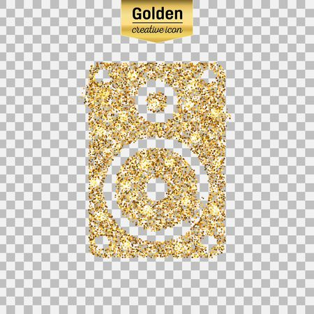 Gold glitter vector icon of music column isolated on background. Art creative concept illustration for web, glow light confetti, bright sequins, sparkle tinsel, abstract bling, shimmer dust, foil. Illustration