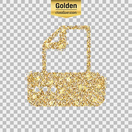 Gold glitter vector icon of fax machine isolated on background. Art creative concept illustration for web, glow light confetti, bright sequins, sparkle tinsel, abstract bling, shimmer dust, foil. Illustration