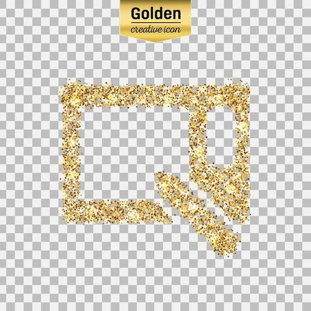 Gold glitter vector icon of graphics tablet isolated on background. Art creative concept illustration for web, glow light confetti, bright sequins, sparkle tinsel, abstract bling, shimmer dust, foil. Illustration