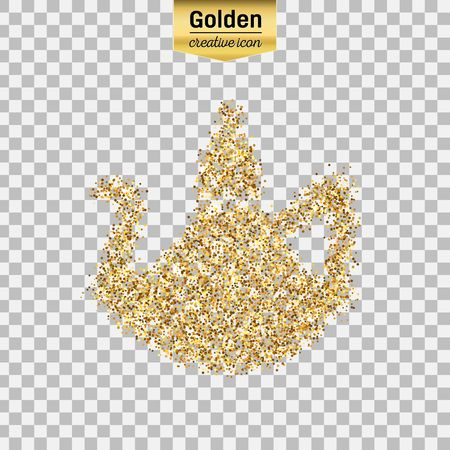 Gold glitter vector icon of teapot isolated on background. Art creative concept illustration for web, glow light confetti, bright sequins, sparkle tinsel, abstract bling, shimmer dust, foil.