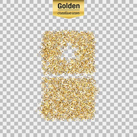 Gold glitter vector icon of fridge isolated on background. Art creative concept illustration for web, glow light confetti, bright sequins, sparkle tinsel, abstract bling, shimmer dust, foil. Illustration