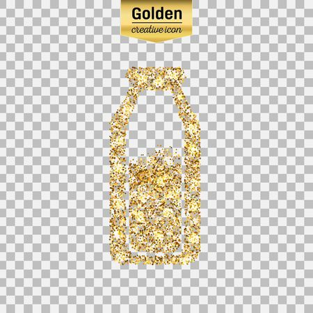 pasteurized: Gold glitter vector icon of the milk in the bottle isolated on background. Art creative concept illustration for web, glow light confetti, bright sequins, sparkle tinsel, abstract bling, shimmer dust. Illustration