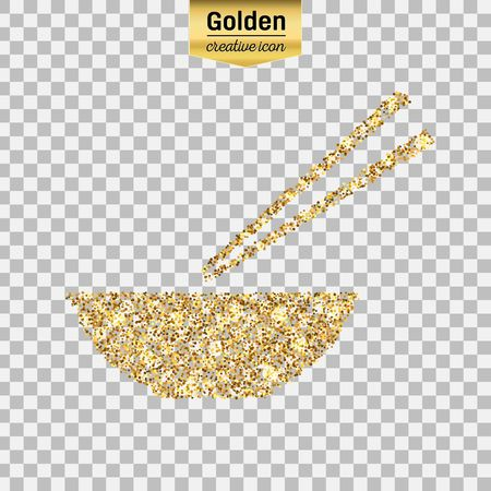Gold glitter vector icon of chinese noodles isolated on background. Art creative concept illustration for web, glow light confetti, bright sequins, sparkle tinsel, abstract bling, shimmer dust, foil.