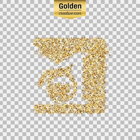Gold glitter vector icon of coffee maker isolated on background. Art creative concept illustration for web, glow light confetti, bright sequins, sparkle tinsel, abstract bling, shimmer dust, foil.