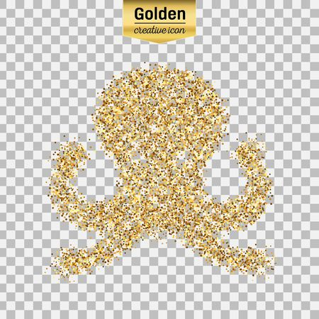 monstrous: Gold glitter vector icon of octopus isolated on background. Art creative concept illustration for web, glow light confetti, bright sequins, sparkle tinsel, abstract bling, shimmer dust, foil. Illustration