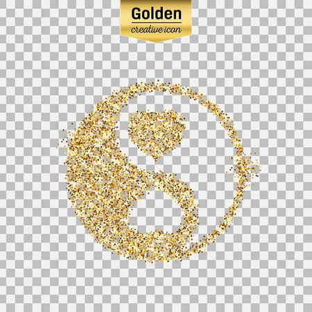 Gold glitter vector icon of Yin Yang isolated on background. Art creative concept illustration for web, glow light confetti, bright sequins, sparkle tinsel, abstract bling, shimmer dust, foil.