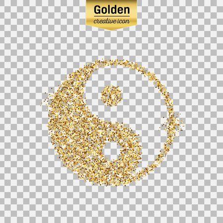 背景に分離した陰陽のゴールドラメ ベクトル アイコン。Web は、芸術創造的な概念図輝き光る塵、箔、抽象的なキラキラ輝き見掛け倒し明るいスパ  イラスト・ベクター素材