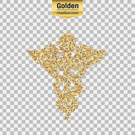 Gold glitter vector icon of caduceus isolated on background. Art creative concept illustration for web, glow light confetti, bright sequins, sparkle tinsel, abstract bling, shimmer dust, foil. Illustration