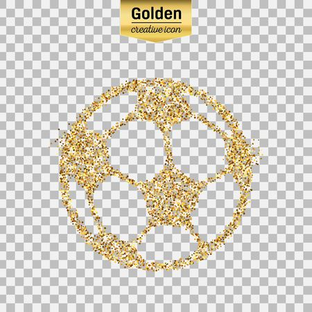 Gold glitter vector icon of Ball football isolated on background. Art creative concept illustration for web, glow light confetti, bright sequins, sparkle tinsel, abstract bling, shimmer dust, foil.