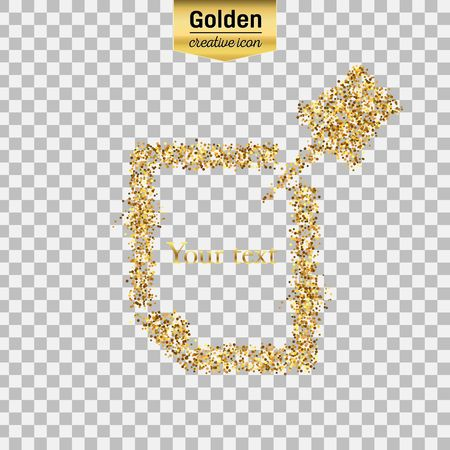 Gold glitter vector icon of Push Pin isolated on background. Art creative concept illustration for web, glow light confetti, bright sequins, sparkle tinsel, abstract bling, shimmer dust, foil. Illustration