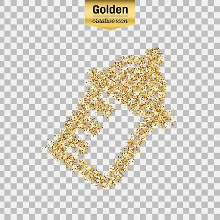 Gold glitter vector icon of nursing bottle isolated on background. Art creative concept illustration for web, glow light confetti, bright sequins, sparkle tinsel, abstract bling, shimmer dust, foil. Illustration