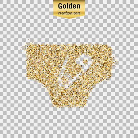 Gold glitter vector icon of diaper isolated on background. Art creative concept illustration for web, glow light confetti, bright sequins, sparkle tinsel, abstract bling, shimmer dust, foil. Illustration