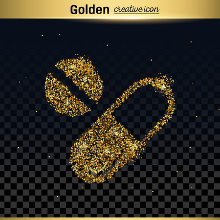 Gold glitter vector icon