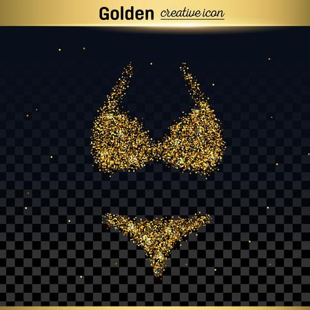 cowards: Gold glitter vector icon