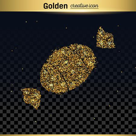 chocolate swirl: Gold glitter vector icon