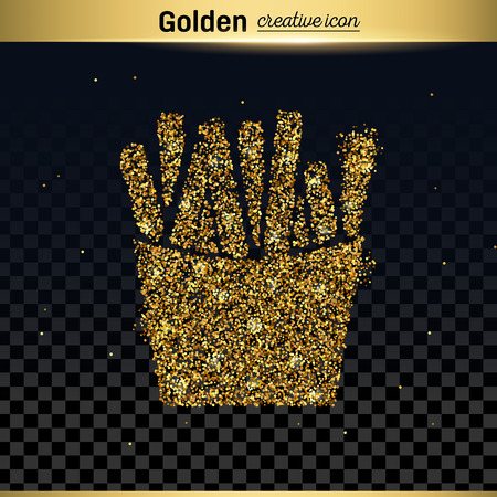 frites: Gold glitter vector icon