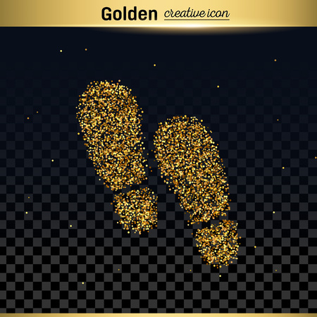 walk away: Gold glitter vector icon