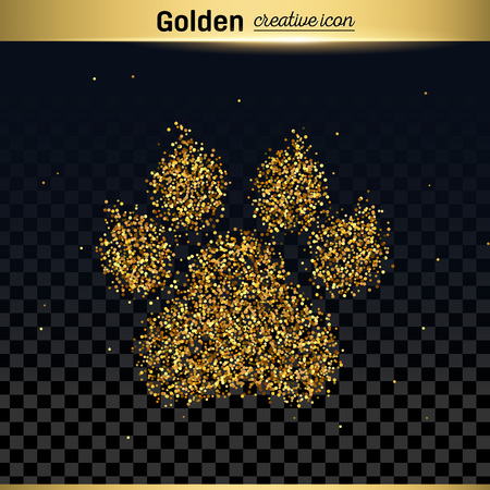 carbon footprint: Gold glitter vector icon