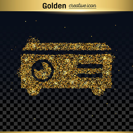 dvd player: Gold glitter vector icon
