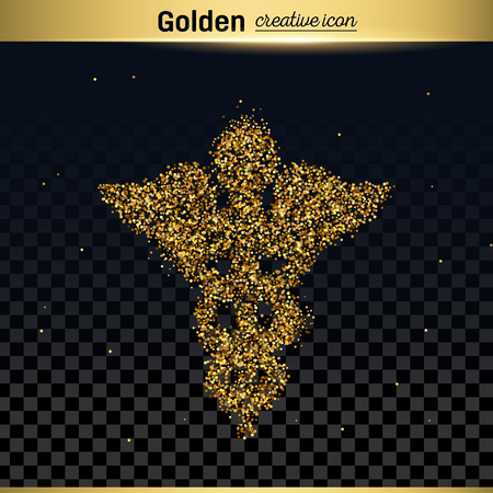 esculapio: Gold glitter vector icon