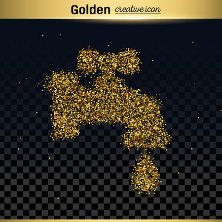 leaking: Gold glitter vector icon