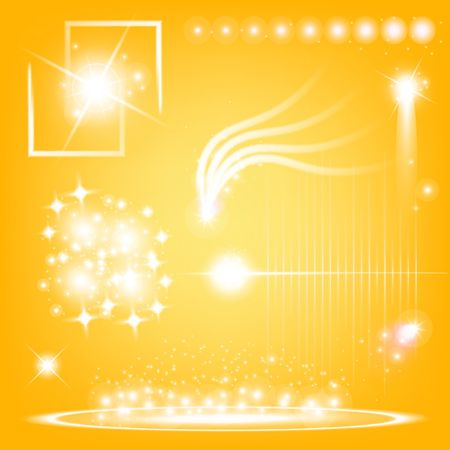 resplandor: Creative concept Vector set of glow light effect stars bursts with sparkles isolated on black background. For illustration template art design, banner for Christmas celebrate, magic flash energy ray.