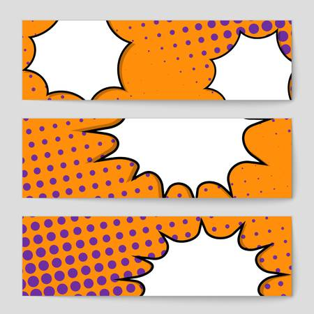 Abstract creative concept vector comic pop art style blank, layout template with clouds beams and isolated dots background. For sale banner, empty speech bubble set, illustration halftone book design