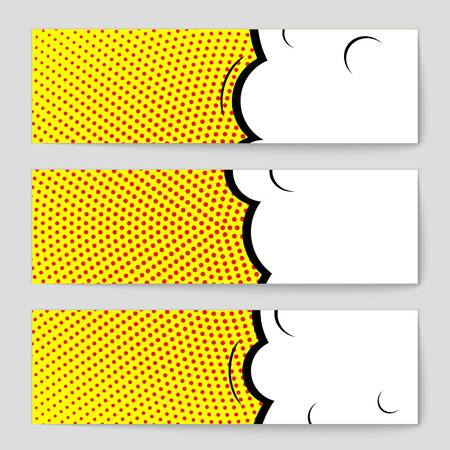 Abstract creative concept vector comic pop art style blank, layout template with clouds beams and isolated dots background.