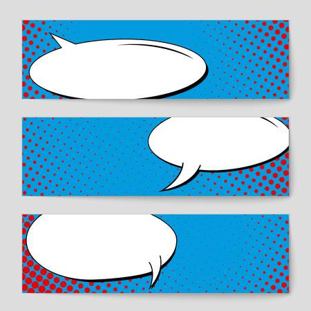 dialog balloon: Abstract creative concept vector comic pop art style blank, layout template with clouds beams and isolated dots background. For sale banner, empty speech bubble set, illustration halftone book design. Illustration