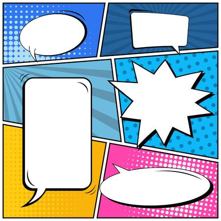 Abstract creative concept vector comic pop art style blank, layout template with clouds beams and isolated dots background. For sale banner, empty speech bubble set, illustration halftone book design. Illustration