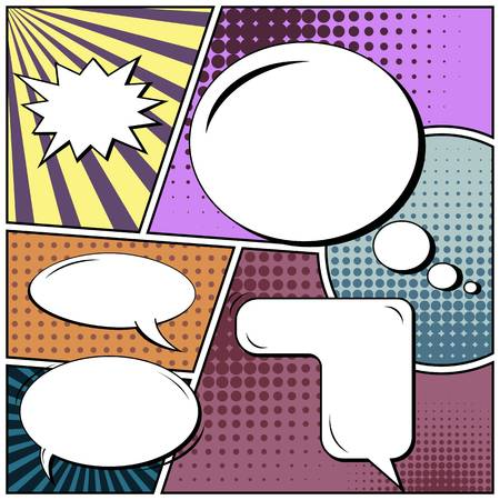 Abstract creative concept comic pop art style blank, layout template with clouds beams and isolated dots background. For sale banner, empty speech bubble set, vector illustration halftone book design