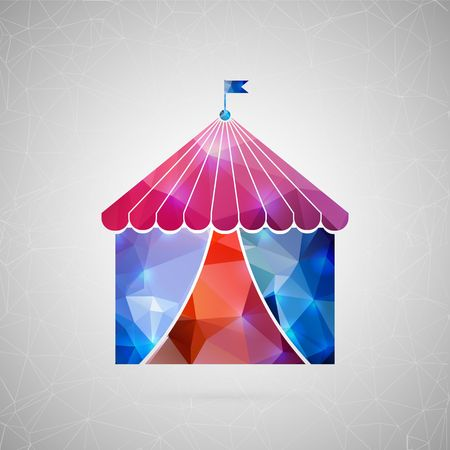 Abstract creative concept vector icon of circus tent. For web and mobile content isolated on background, unusual template design, flat silhouette object and social media image, triangle art origami. Illustration
